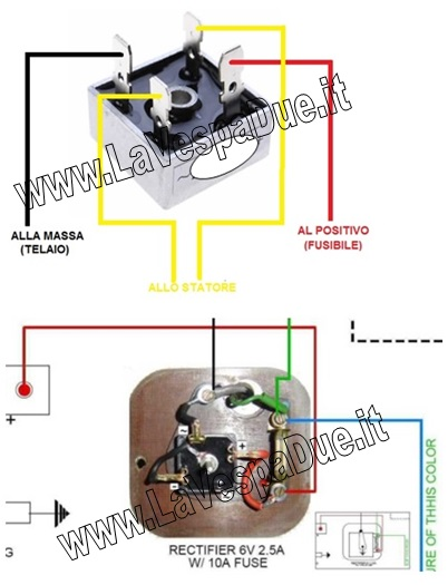 Schema Elettrico Regolatore Di Tensione Ape 50 : Raddrizzatore regolatore di corrente tensione a diodo per